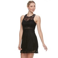 Juniors' Liberty Love Illusion Lace Skater Dress | null