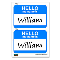 William Hello My Name Is - Sheet of 2 Stickers