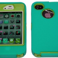 Iphone 4 4s Defender Body Armor Case Teal on Green Comparable to Otterbox Defender + Cool Colors Usb Cord and Breast Cancer Awareness Silicone Bracelet