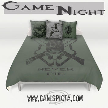 Halo Master Chief Bedding Duvet Video Game Bed Set Spartan ODST Pillow Cover Bedroom Gaming Gamer Decor For Decorative Skull Black Green Guy