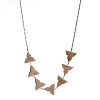Wooden architects' scale long link necklace
