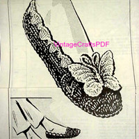 BUTTERFLY SLIPPERS 1950s Vintage Crochet Pattern House Slippers House Shoes Butterfly Scallop Gift Crochet Shoes USA Instant Download