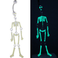 Glow in the Dark SKELETON BONES Dangle Belly Ring | Body Candy Body Jewelry