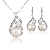 Alessia Rhinestones and Pearl Drop Jewelry Sets for Brides, Wedding Gifts