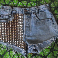 Marble Blue/Acid Blue Pyramid Studded High Waisted Vintage Levi Denim Shorts