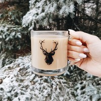 Deer Head Glass Mug