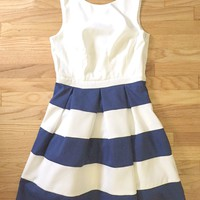 Pleated White & Navy Striped Dress