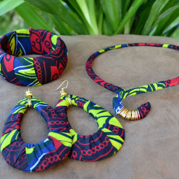 Afrocentric African Fabric Earrings Choker and by MarcieRoxx