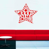 Wall Decal Vinyl Sticker Decals Art Decor Rock Star born to be Rock star gitare Music Song Style Record Fashion (r58)