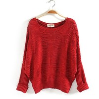 Batwing Sleeve Casual Christmas Sweater For Women