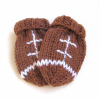 Hand Knit Baby Football Mittens 3 to 12 Months - Thumbless Mitts Infant Baby Boy Baby Girl - Knit Winter Accessories Football Baby Mittens