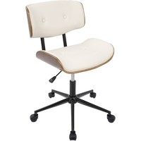 Lombardi Height Adjustable Office Modern Chair with Swivel, Walnut & Cream