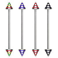 316L Industrial Barbell with Three Striped Spikes