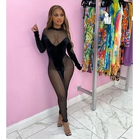 fhotwinter19 new women's sexy fashion see-through velvet mesh stitching jumpsuit
