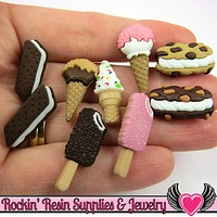 Jesse James Buttons 9 pc FREEZER TREATS Ice Cream Buttons / Turn them Into Decoden Cabochons