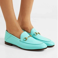 GUCCI Horsebit-detailed collapsible-heel leather loafers