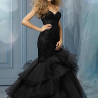 2014 New Black Mermaid Formal Prom Evening Party Ball Quinceanera Wedding dress