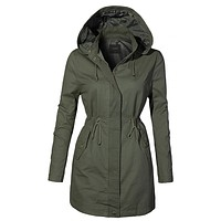 Fully Lined Oversized Long Anorak Parka Military Jacket with Pockets (CLEARANCE)