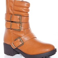 Natures Breeze Modern Art Mission Quilted Buckle Boots - Tan