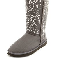 Fur-Lined Rhinestone Sueded Boot: Charlotte Russe