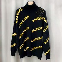 Balenciaga 2019 new jacquard letter knit turtleneck sweater