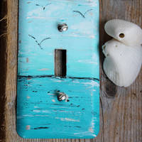 Coastal Room Decor Hand Painted Ocean  Light Switch Cover / Switchplate , Decorative Wall Plate