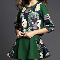 Floral Print Long-Sleve Shirt With Pair Skirt