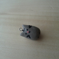 Grey Cat Polymer clay charm