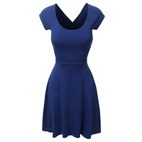 Scoop Neck Criss Cross Fit and Flare Dress (CLEARANCE)