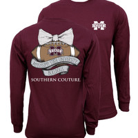 Southern Couture MSU Bulldogs Mississippi State Vintage Football Long Sleeve T-Shirt