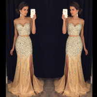 Two Pieces Mermaid Prom Dresses 2017 Sweetheart Champagne Tulle Side Slit Beads Crystal Evening Party Gowns