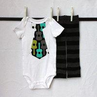 Guitar Tie Bodysuit with Matching Leg Warmers Long or Short Sleeve