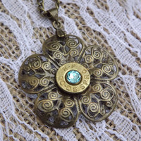 bronze flower filigree bullet necklace, bullet jewelry, country jewelry, camo jewelry, cowgirl necklace, hunting accessories, girls with gun