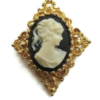 Vintage Gerry's Black Lucite Cameo Pin Brooch in Ornate Gold Tone Diamond Shaped Bezel