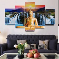 5 Pcs Buddha Oil Canvas Painting