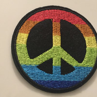 Peace Patch, Peace Iron On Patch, Peace Sew On Patch, Peace Sign Patch, Rainbow Peace Sign, Rainbow Peace Patch, Rainbow Patch