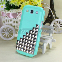Fashion Green Case Cover Pyramid Studs Studded For Samsung Galaxy SIII S3 i9300