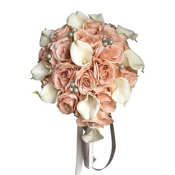 Blush Pink, White, and Silver Teardrop Bouquet