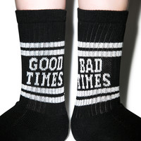 Lazy Oaf Good Times Tube Socks Black Small/Medium
