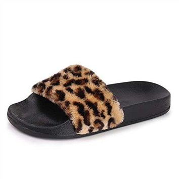 EQUICK Womenrsquos Faux Fur Slide Sandals Casual Flat Slipper for Indoor and Outdoor Shoes