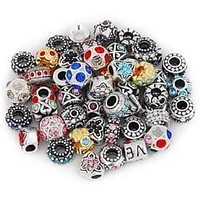 Pack of 5 Assorted Antique Silver Tone And Crystal Rhinestone Charm Beads