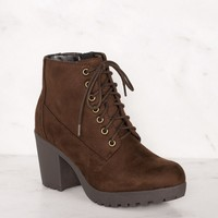 Charlize Chocolate Lace Up Booties