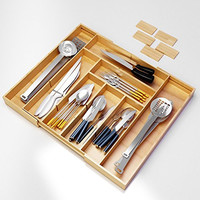 Best Silverware Kitchen Drawer Organizer -Expendable Bamboo Tray with Adjustable Dividers Eliminate Clutter-Great As a Flatware Utensil Holder,Keurig K Cup Coffee Capsules Storage or Spice Rack
