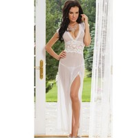 On Sale Cute Hot Deal Sexy Deep V Short Sleeve Lace Transparent White Exotic Lingerie [6595685571]