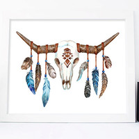 Bull Head Print, Bull Skull Digital Print, Cow Horns, Feathers, Boho Printable, Printable, Boho Wall Art, Native Art, Tribal Print, For Him