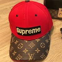 Supreme & LV New fashion embroidery letter couple cap hat Red