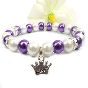 Pearl Princess Bracelet: Purple and White, Gift For Teenager, Crown Charm