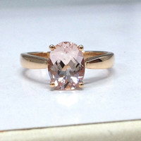 Morganite Solitaire Ring in 14K Rose Gold!7x9mm Oval Cut Morganite Engagement Ring,Unique Design,Wedding Bridal Ring,Fashion Fine Jewelry