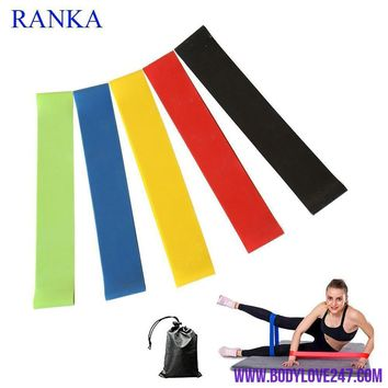 5PCS/Set Resistance Band fitness 5 Levels Latex Gym Strength Training Bands