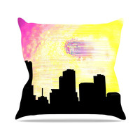 "Infinite Spray Art ""Skylined"" Pink Yellow Outdoor Throw Pillow"